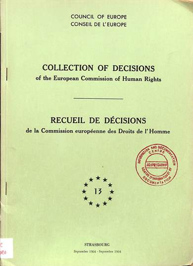 Collection of decisions/recueil des decisions: no. 13
