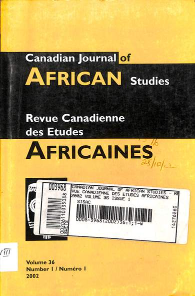 Canadian journal of African studies = Revue Canadienne des etudes Africaines