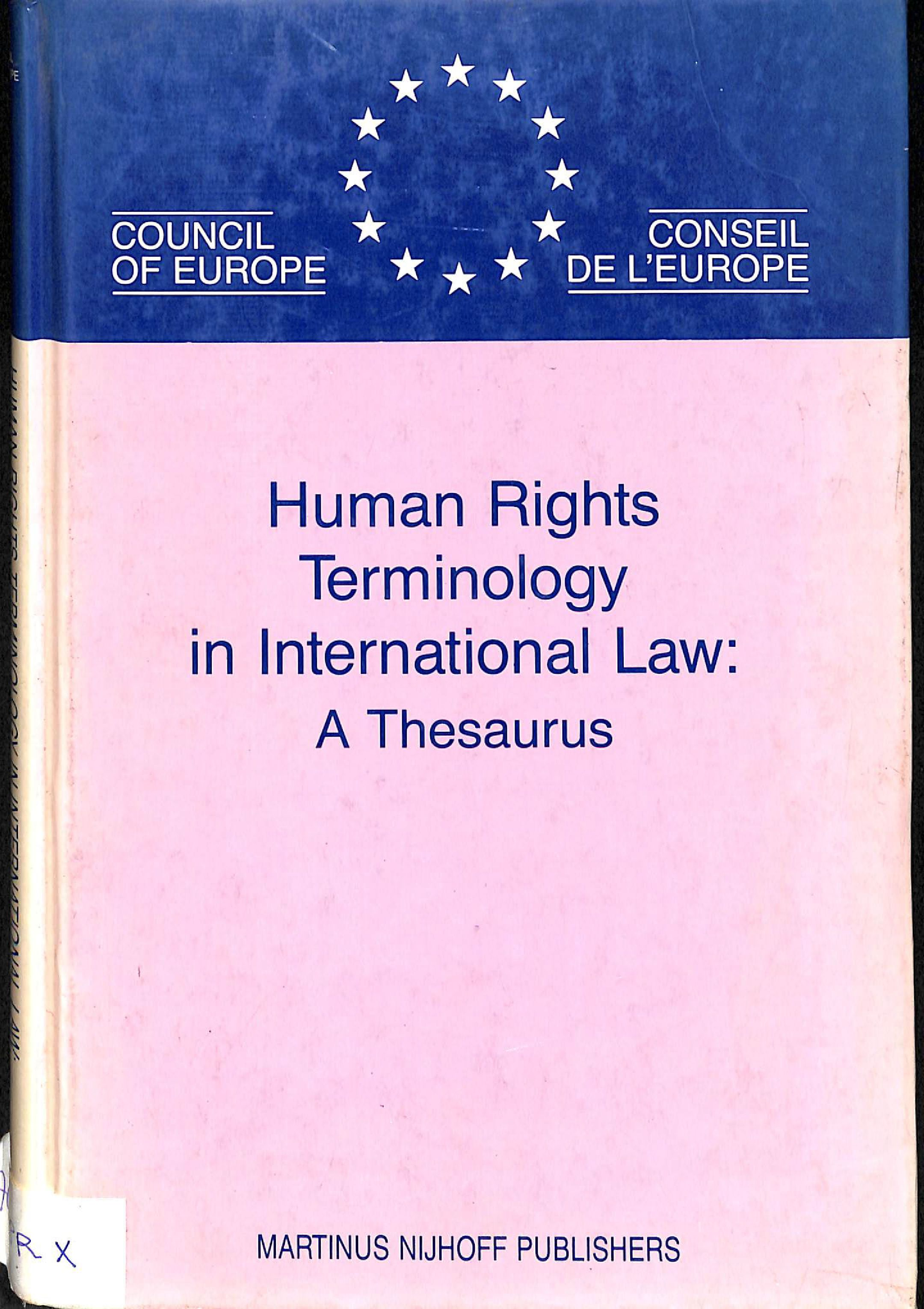 Human rights terminology in international law: A thesaurus